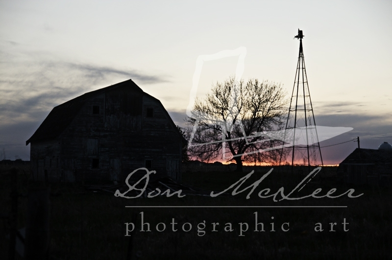 Sunset Barn and Windmill